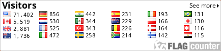 http://s03.flagcounter.com/count/aJve/bg=FFFFFF/txt=000000/border=CCCCCC/columns=6/maxflags=24/viewers=0/labels=0/